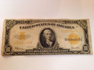 1922 $10 Ten Dollar Gold Certificate Large Note United States Of America photo