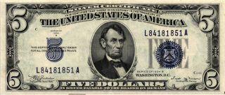 1934 - B $5.  00 United States Silver Certificate Fr 1652 L84181851a Xf/au photo