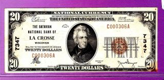 {la Crosse} $20 The Batavian National Bank Of La Crosse Wi Ch 7347 photo