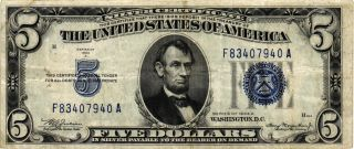 1934 - A $5.  00 United States Silver Certificate Fr 1654 F83407940a Vf/xf photo
