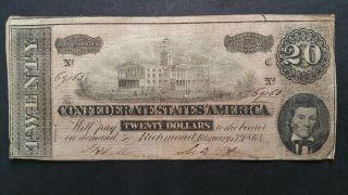 1864 Confederate States Of America 20 Dollar Note Richmond 2 - 17 - 1864 photo