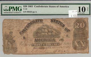 1861 $20 Confederate States Of America Very Good 10 Pmg Cert photo