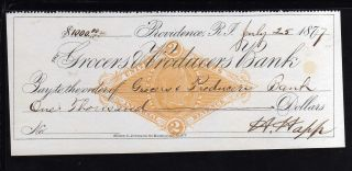 1877 - Grocers & Producers Bank - Providence,  R.  I.  C/w Revenue photo