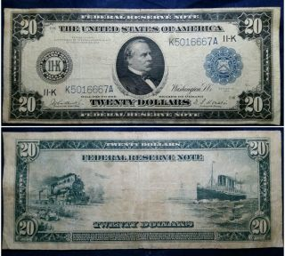 1914 $20 Dallas Texas Fr.  - 886 Frn Federal Reserve Note 11 - K Large Size Currency photo