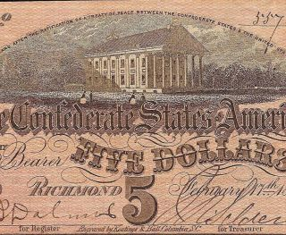 1864 $5 Dollar Bill Confederate States Currency Civil War Note Old Paper Money photo
