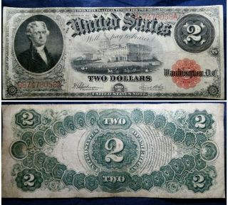 1917 $2 Two Dollar U.  S.  Legal Tender Large Size Currency Note photo