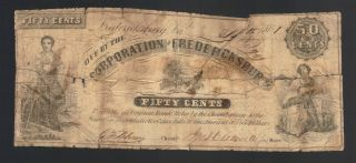 50¢ 1861 Fredericksburg Va Jackson Obsolete Currency Paper Note Confederate Bill photo