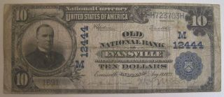 Rare 1923 Old National Bank Of Evansville Ten Dollar ($10) Banknote,  Large Size photo