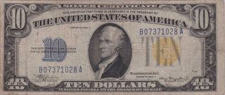 Series 1934 A $10.  00 — Silver Certificate,  Yellow Seal North Africa photo