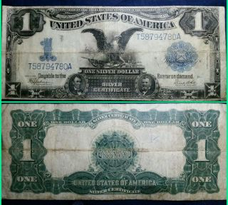 1899 $1 Black Eagle Silver Certificate Well Circulated Large Size Currency Note photo