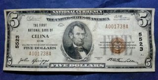 1929 $5 Celina First National Bank Of Celina Ohio Currency Note Ch 5523 Low Sn photo