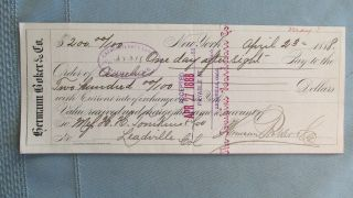 Herman Boker & Company Cancelled Bank Check - 1888 - Tompkins Leadville Colorado photo