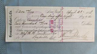 Herman Boker & Company Cancelled Bank Check - 1888 - Tompkins Leadville Colorado photo