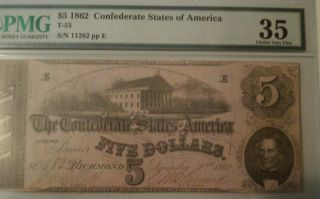 1862 $5.  00 Csa Noteid Number Is T - 53.  Graded By Pmg