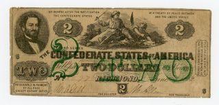 1862 T - 43 $2 The Confederate States Of America Note - Civil War Era photo