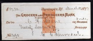 1873 - The Grocers And Producers Bank (brown) - Providence,  R.  I.  C/w Revenue photo