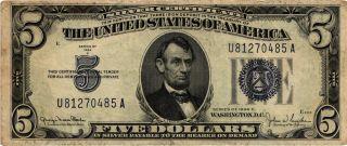 A 1934 - D Wide Ii $5.  00 U.  S.  Silver Certificate Fr 1654 Au - U81270485a photo
