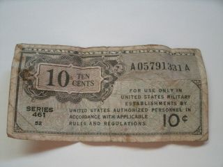Ten Cents Military Payment Certificate Note Series 461 photo