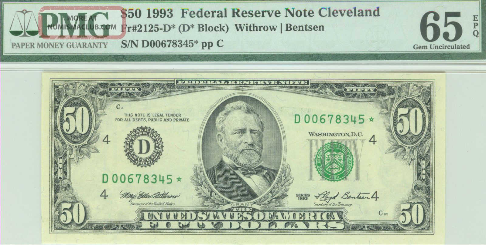 1993 $50 Frn Star Sn D 00678345 Fancy Dual Ladder Up - Pmg 65epq Gem Unc Small Size Notes photo