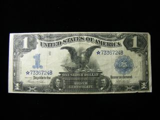 Star Note Large Size 1899 $1 Black Eagle One Dollar Silver Certificate photo