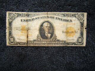 $10.  00 Gold Note Series Of 1922 Speelmen/white K14645488 Numerous Flaws photo