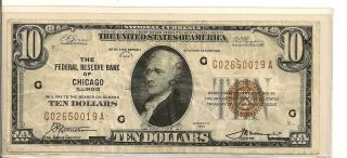 1929 $10 National Currency Chicago Average Wear G 02650019 A photo