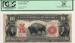 1901 $10 Legal Tender Us Note Bison (fr 122)