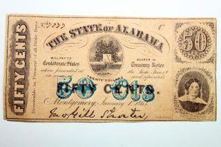 One State Of Alabama 50 Cent Montgomery Civil War Treasury Note - - Fine photo