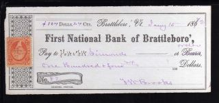 1872 First National Bank Of Brattleboro - C/w Revenue Stamp photo