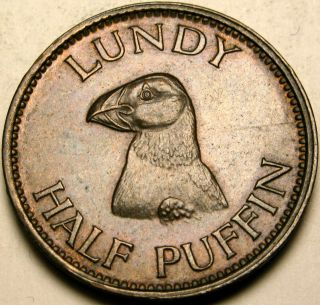 Lundy Island 1/2 Puffin 1929 - Bronze - Martin Coles Harman - Xf/aunc - 2766 photo