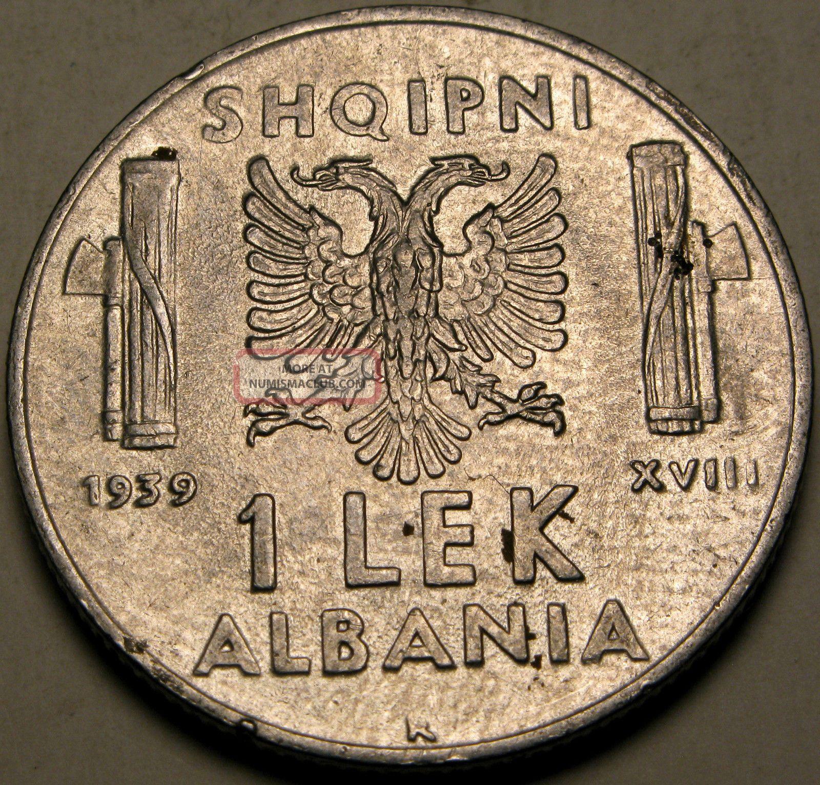 Albania (italian Occ. ) 1 Lek 1939 - Stainless Steel - Vittorio Emanuele Iii.  - 2794 Europe photo