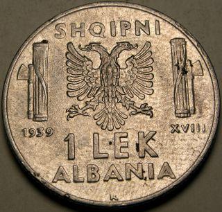 Albania (italian Occ. ) 1 Lek 1939 - Stainless Steel - Vittorio Emanuele Iii.  - 2794 photo