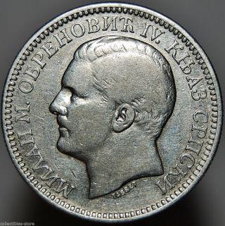 Serbia 2 Dinara 1879 Milan Obrenovich Iv Serbian Silver Coin Km 11 photo