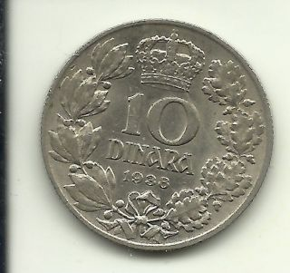 Yugoslavia 10 Dinar,  1938 Km 22 photo