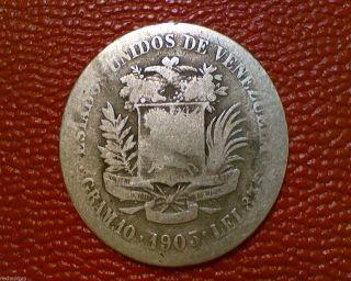 1903 Venezuela 2 Bolivares Silver Coin Dd01 photo