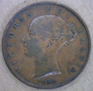 1856 Copper Half Pence Uk Half Penny Britain Coin Vf photo