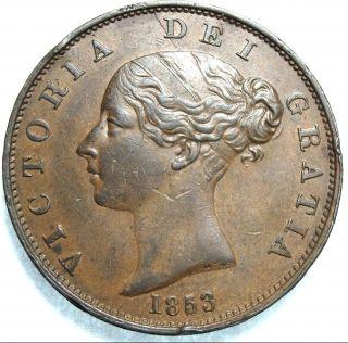 1853 Uk / Great Britain Victoria Half Penny - Close Date - Peck 1539 photo