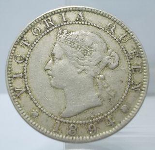 Jamaica 1894 Victoria One Penny Copper - Nickel Coin Rare photo