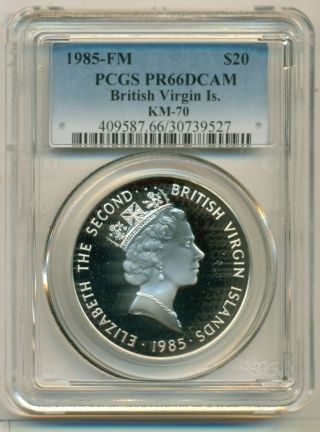British Virgin Islands Silver 1985 Fm Km - 70 20 Dollars Pr66 Dcam Pcgs photo