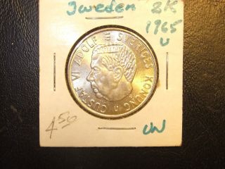 1965 Sweden 2 Kr Silver Coin photo