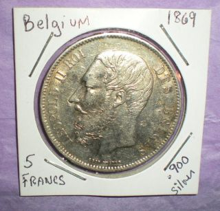 Belgium,  5 Francs Silver Coin Dated: 1869.  90 Silver photo
