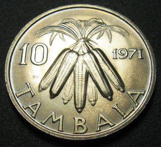 Malawi 10 Tambala Coin 1971 Km 10.  1 Corn Au, photo