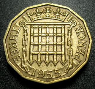 Great Britain 3 Pence Coin 1955 Km 900 Crowned Portcullis photo