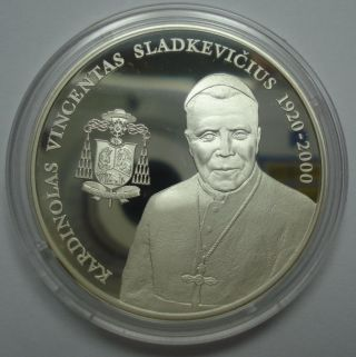 Lithuania 50 Litu 2005 Silver Comm Proof Cardinal Vincentas Sladkevicius photo