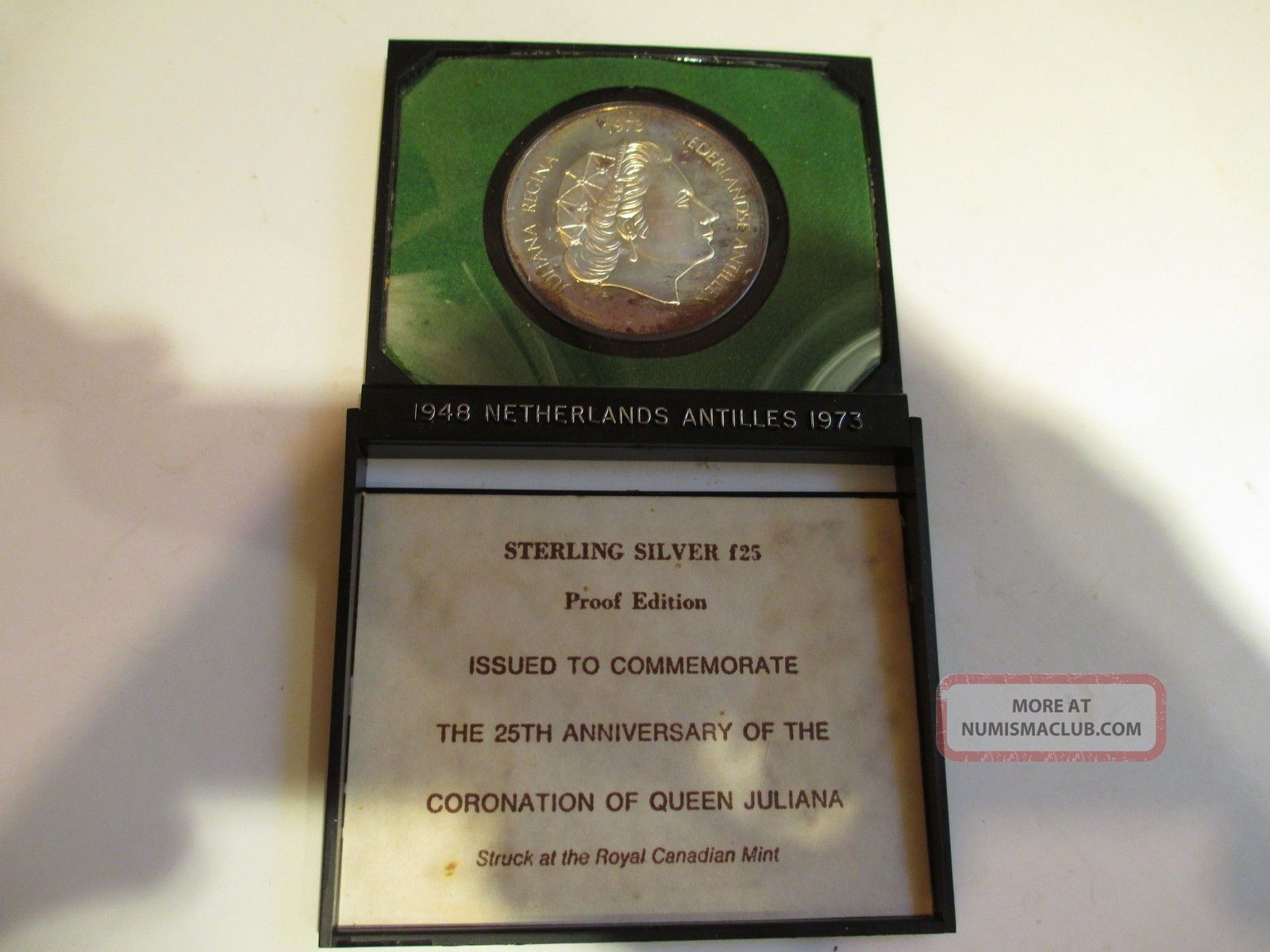 1973 F25 Netherlands Antilles Sterling Silver Proof Coin :1.  675 Ozs Pure Silver Coins: World photo