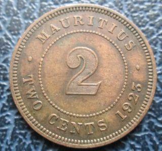 1923 Mauritius 2 Cents - George V photo