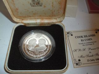 1986 U.  K.  Royal Royal Wedding (andrew & Fergie) Sterling Silver $1 Proof Coin photo