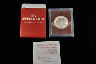 1976 Liberia Proof $5 Five Dollar Coin photo