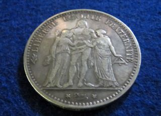 1874 K France Silver 5 Francs - Circulated - photo
