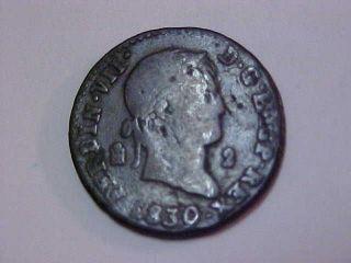1830 Spanish - Puerto Rico 2 Maravedis Coin photo